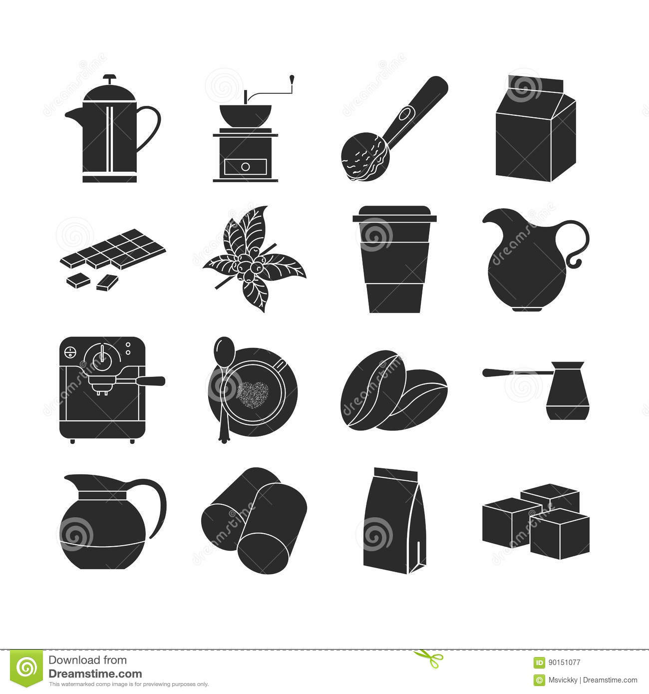 Collection of dark coffee icons