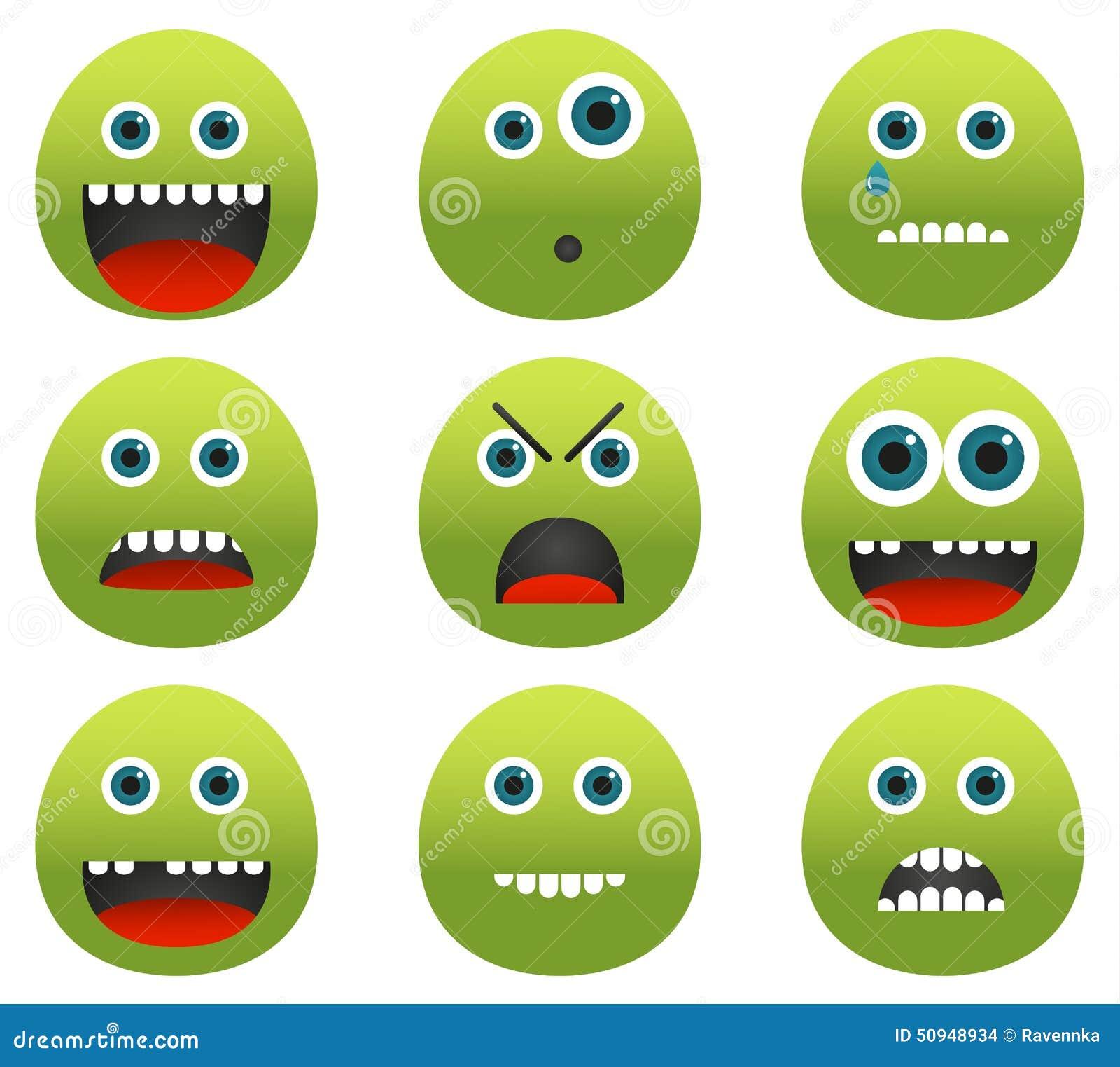 Collection de 9 émoticônes vertes de monstre