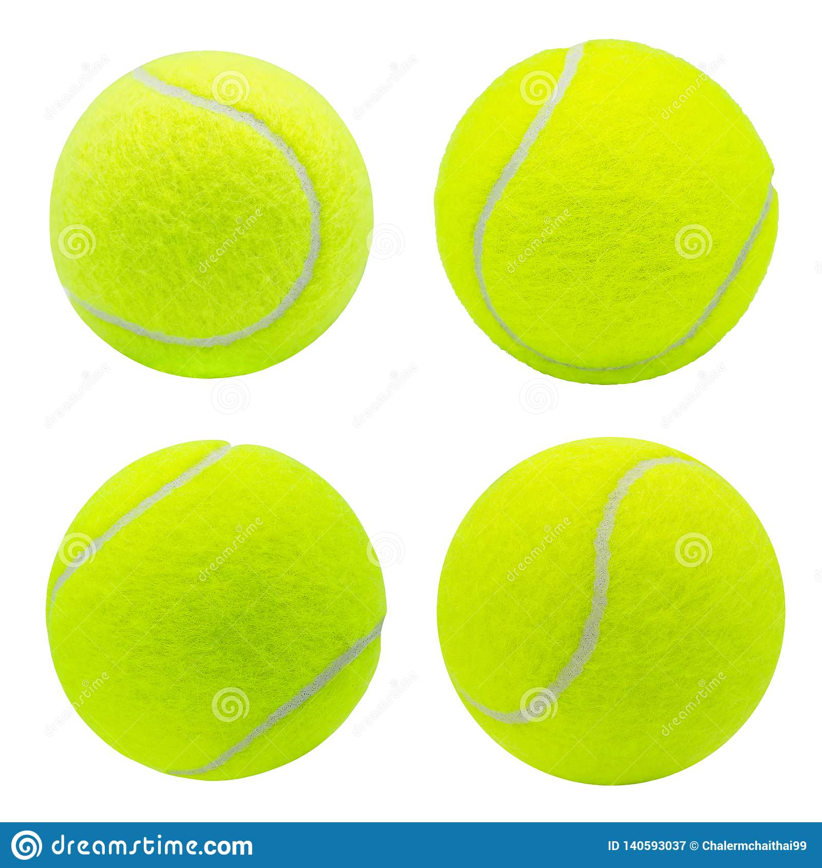 Collection de balle de tennis d isolement sur le fond blanc avec le chemin de coupure