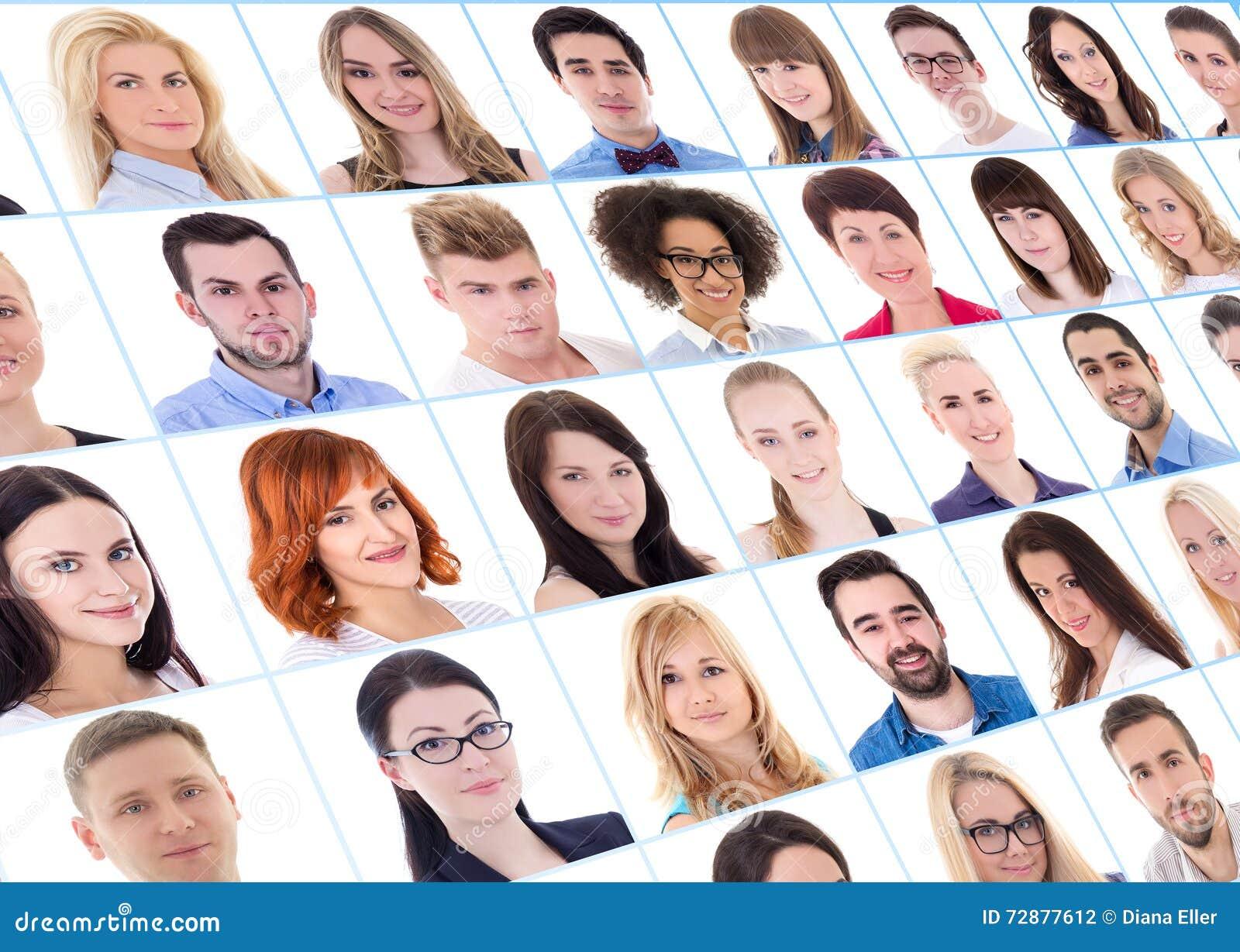 Collection de beaucoup de gens d affaires de portraits au-dessus de blanc