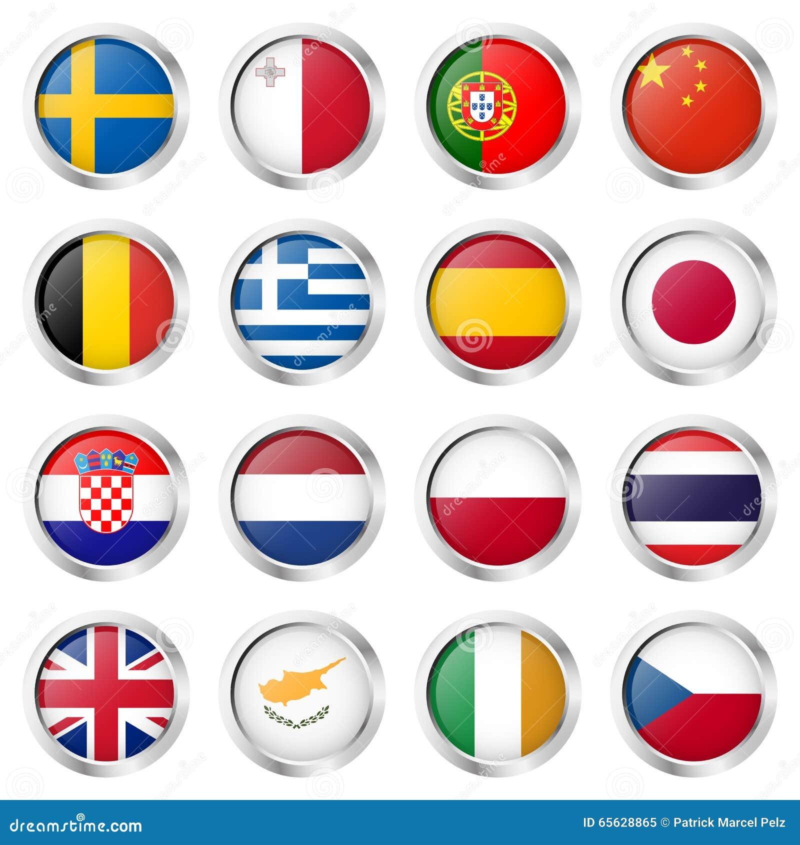 Collection de bouton avec des drapeaux de pays