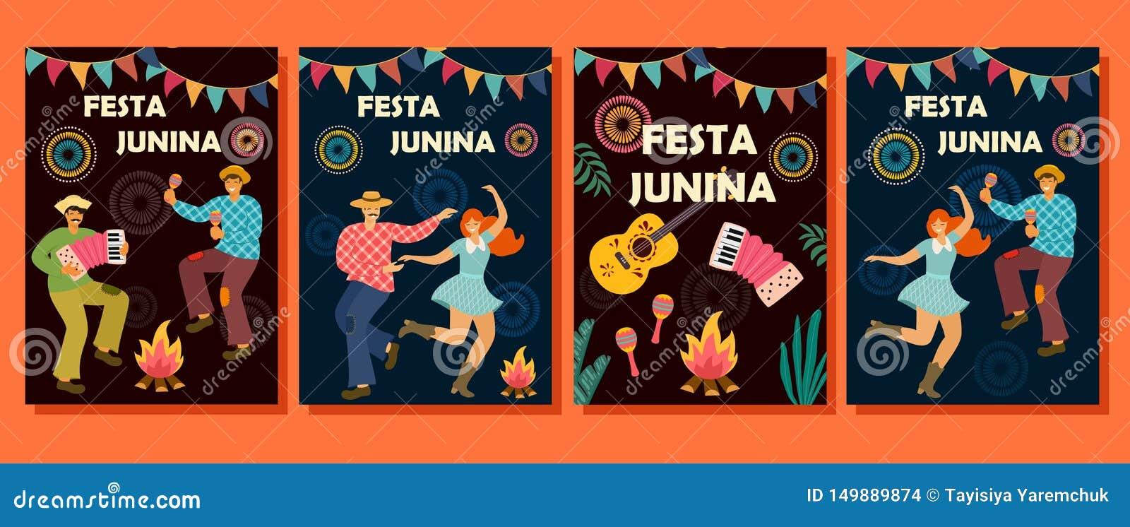 Collection de cartes pour Festa Junina Vacances latino-am?ricaines Illustration de vecteur Calibre d idée pour la bannière, affic