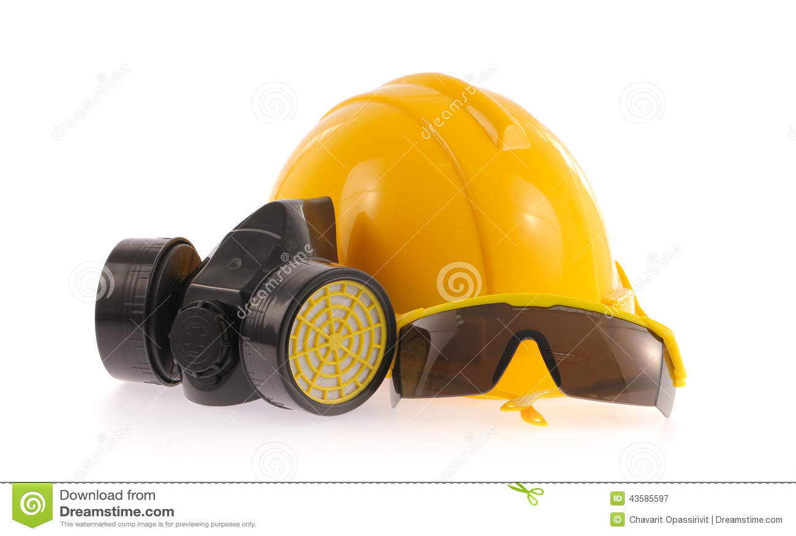 Collection de casque, masque protecteur et protection oculaire chimique ou  lunettes sur le fond blanc 7691a2f85dd1
