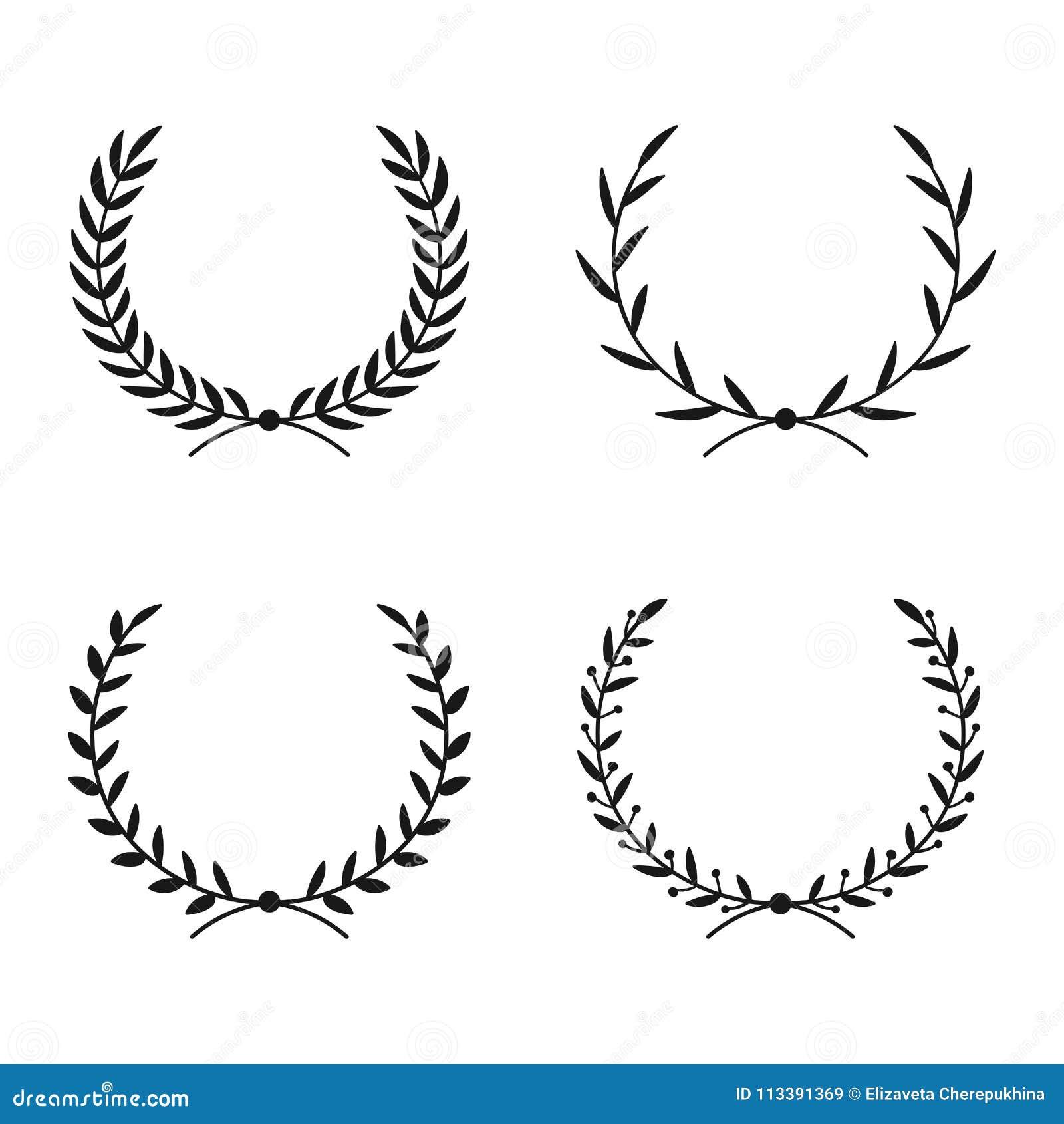 Collection de différentes guirlandes de laurier Cadres ronds de vecteur tiré par la main pour des invitations, des cartes de voeu
