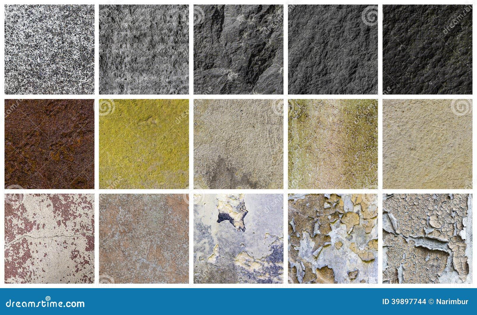 Collection de différents milieux de pierre et de mur
