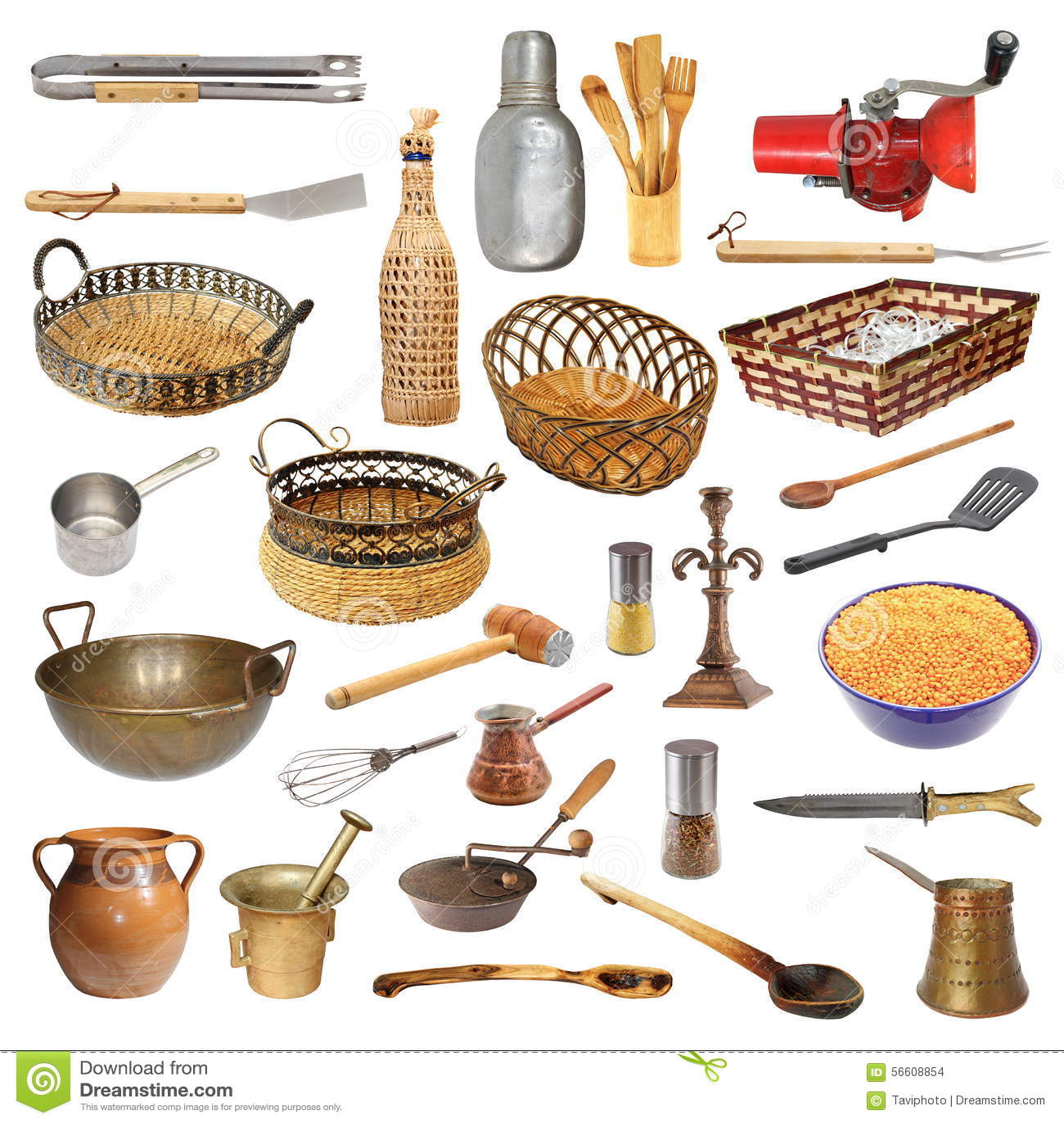 collection de diff rents ustensiles et objets de cuisine photo stock image 56608854. Black Bedroom Furniture Sets. Home Design Ideas
