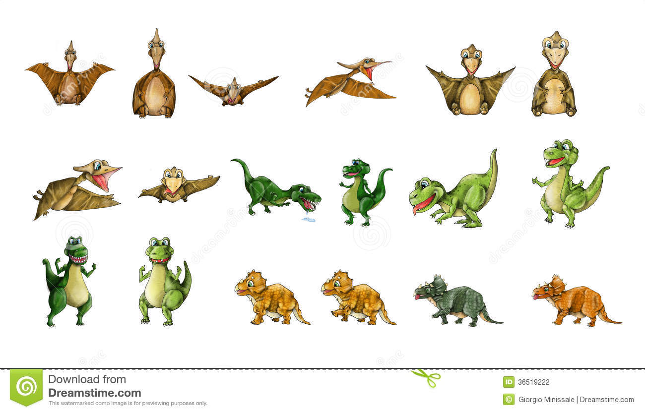 Collection de dinosaures - T-Rex, ptérodactyle, Triceratops