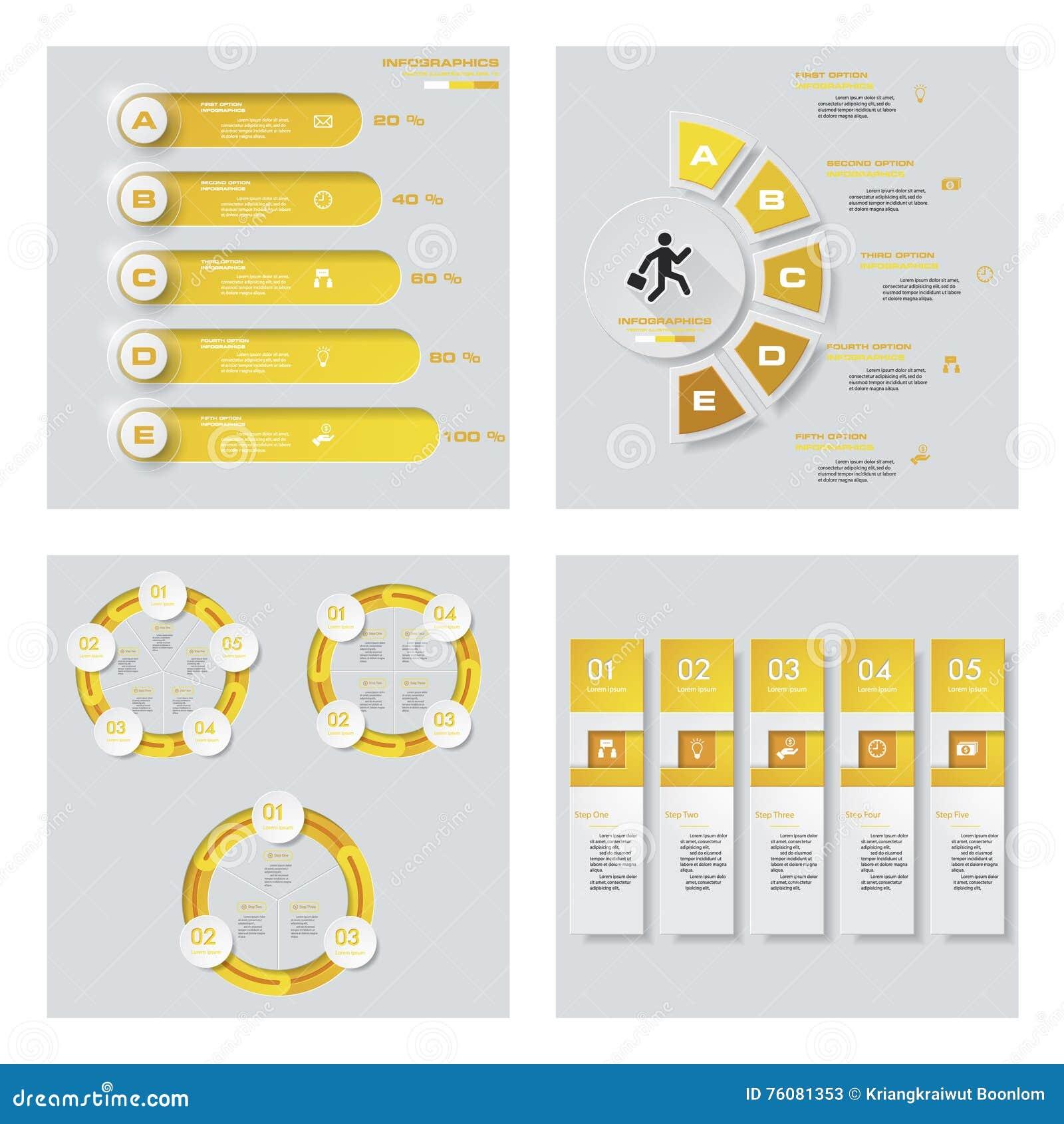 Collection de 4 dispositions jaunes de calibre/graphique ou de site Web de couleur Fond de vecteur