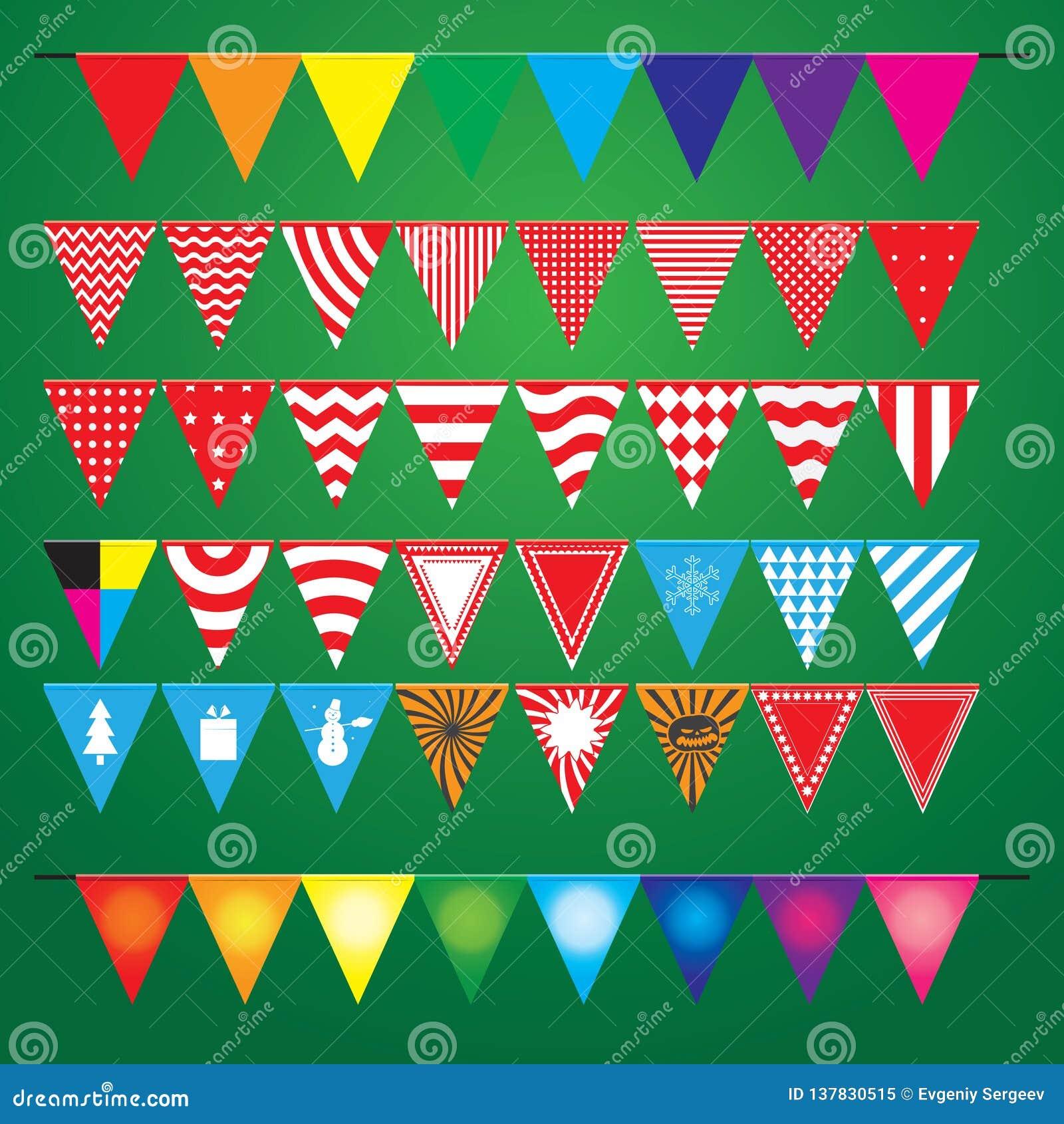 Collection de drapeaux décoratifs de fête pour les vacances