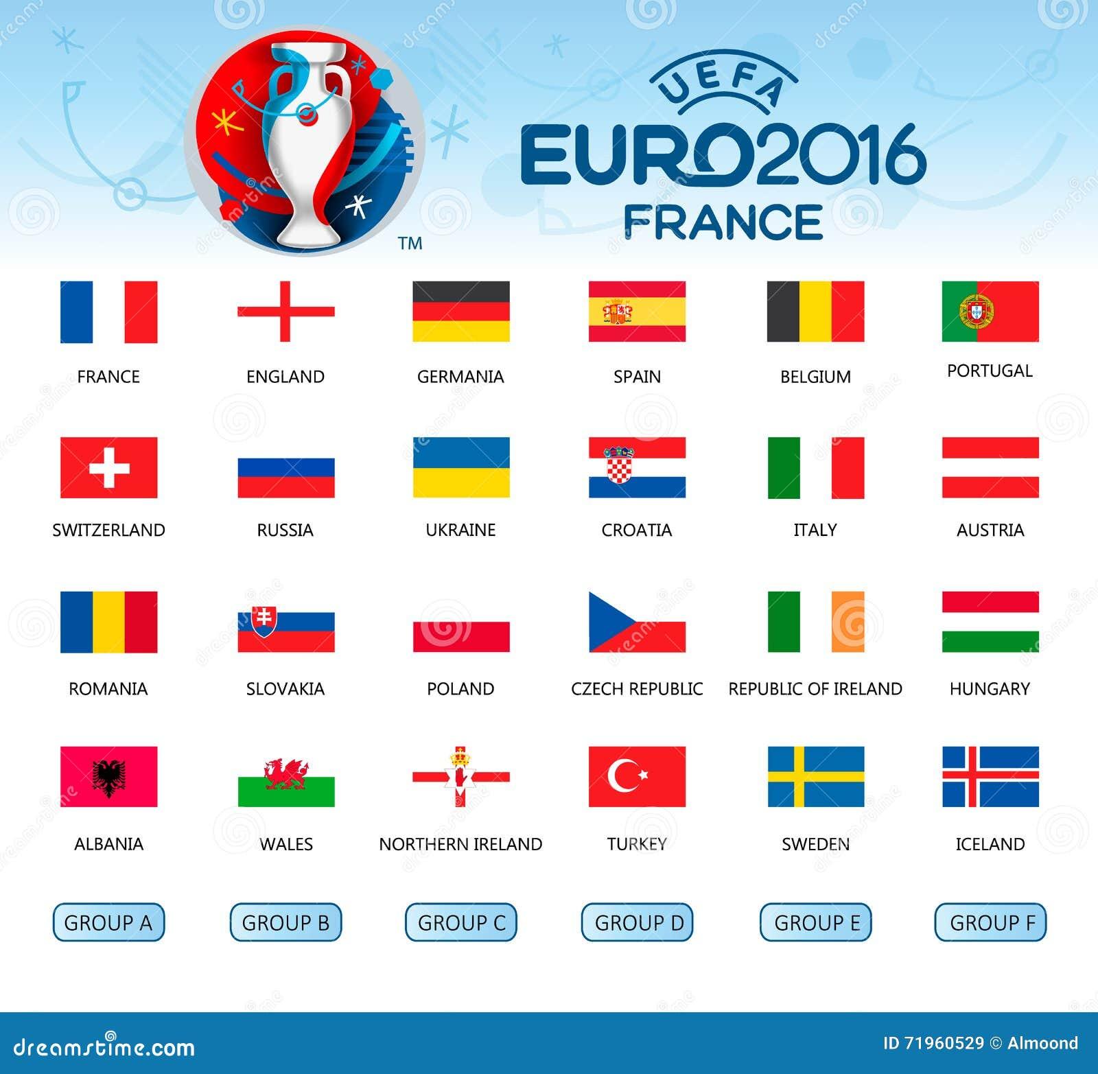 collection de drapeaux des pays participants de l 39 euro 2016 image stock ditorial image 71960529. Black Bedroom Furniture Sets. Home Design Ideas