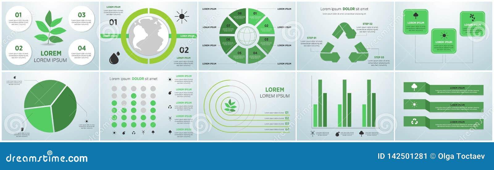 Collection de graphiques de l information d écologie - concept viable - diagrammes, symboles, éléments graphiques