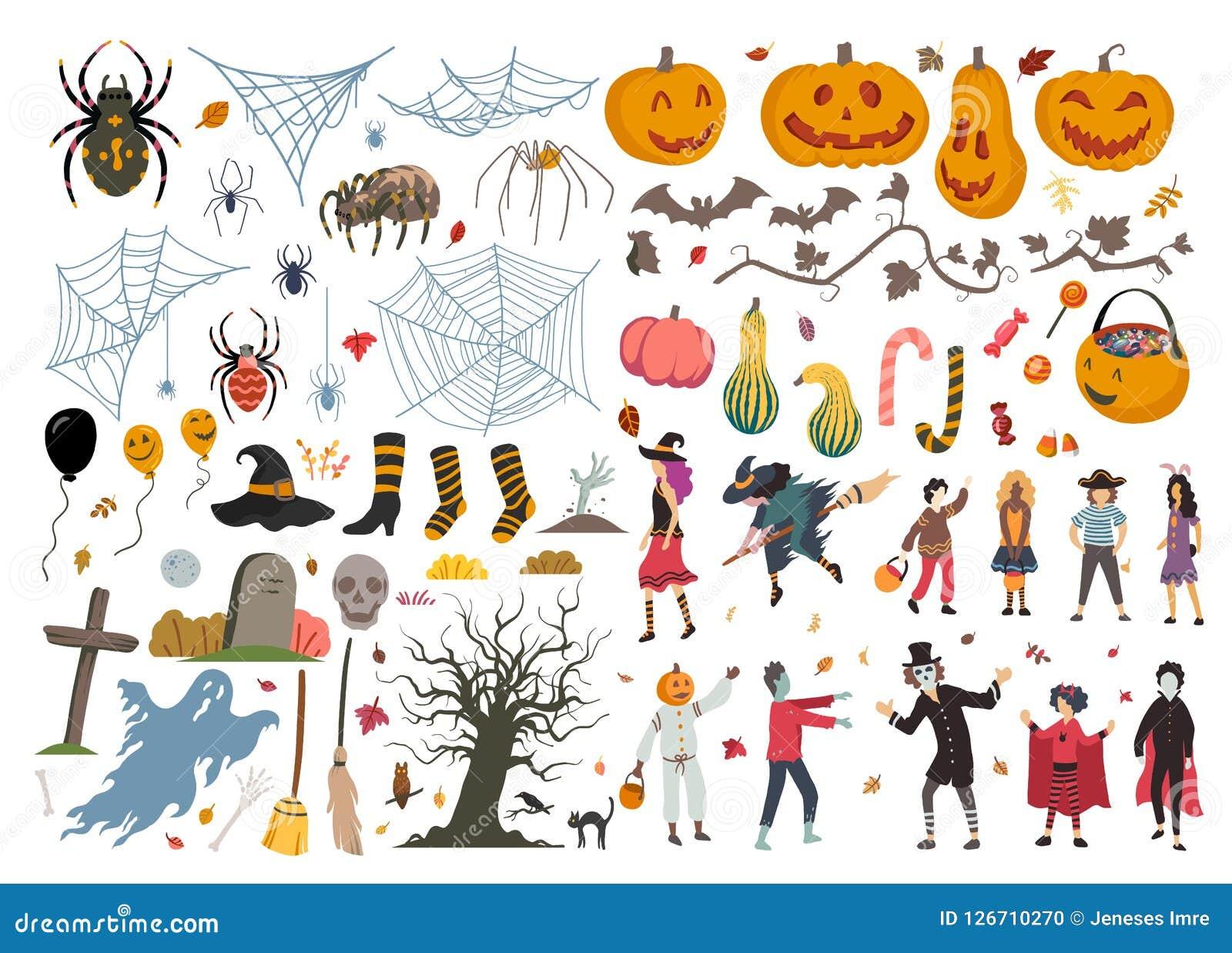 Collection de Halloween, illustration, griffonnage, croquis, dessin, vecteur