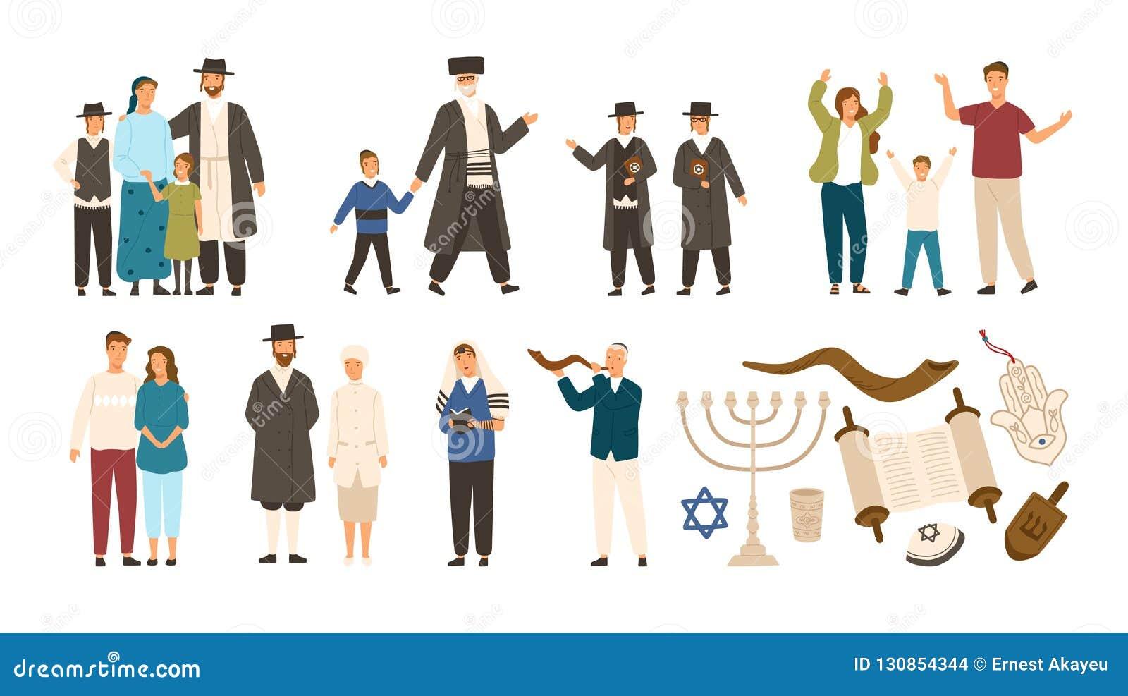 Collection de juifs et de symboles juifs ou hébreux Couplez, famille heureuse, garçons lisant Torah et jouant le Shofar mignon
