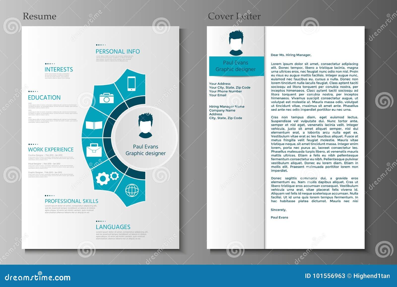 collection de lettre d u0026 39 accompagnement de r u00e9sum u00e9 et cv moderne r u00e9gl u00e9 avec infograp illustration