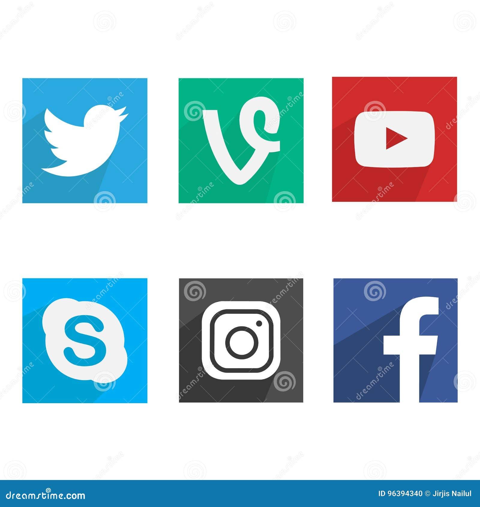Collection de logos sociaux populaires de media Conception plate