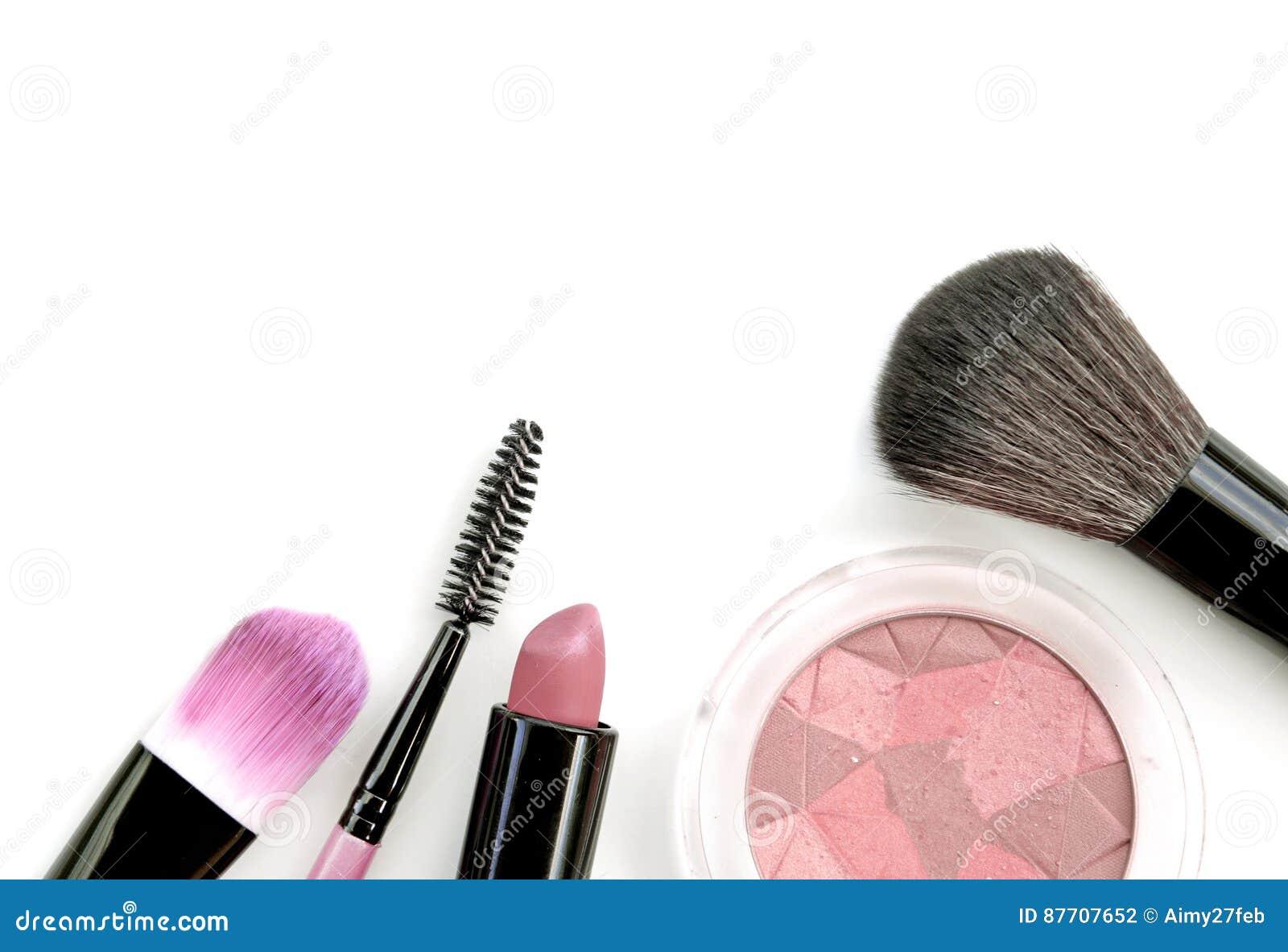 Collection de maquillage et isolat professionnels d outils sur le blanc
