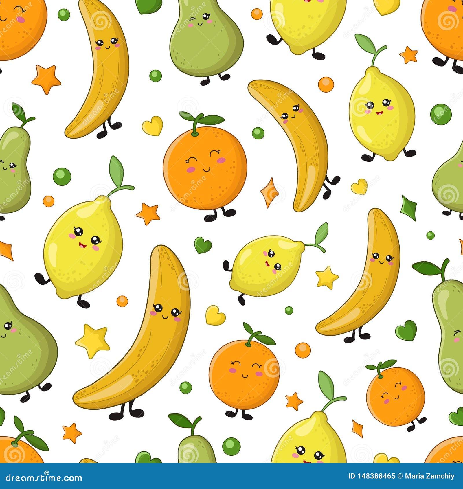 Collection De Nourriture De Kawaii Illustration De Vecteur