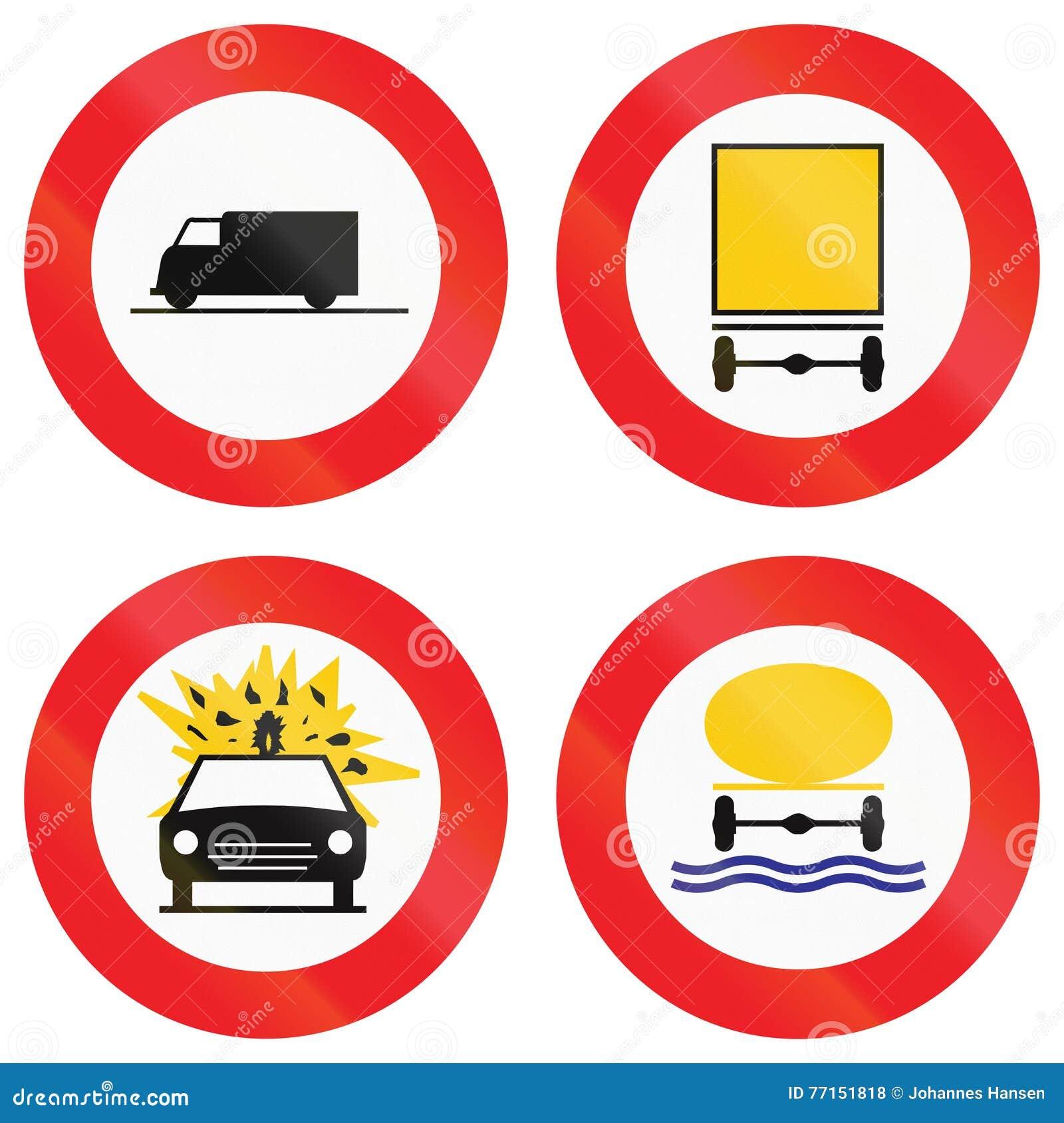 Collection de panneaux routiers utilisés en Belgique