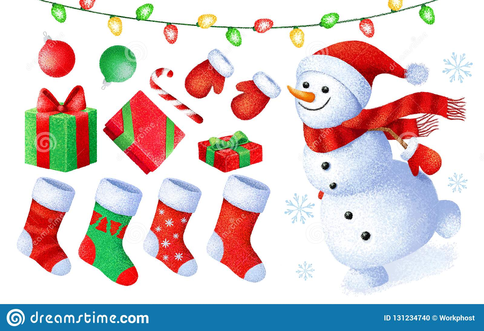 8292139a50 Collection de peinture de Noël de bande dessinée et de nouvelle année  Ensemble d'icônes de Noël Empreinte digitale