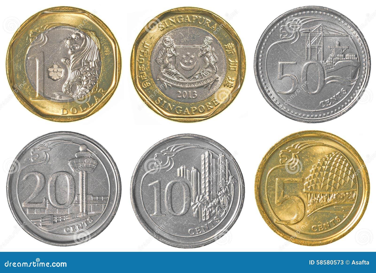 collection de pi ces de monnaie singapourienne du dollar photo stock image 58580573. Black Bedroom Furniture Sets. Home Design Ideas