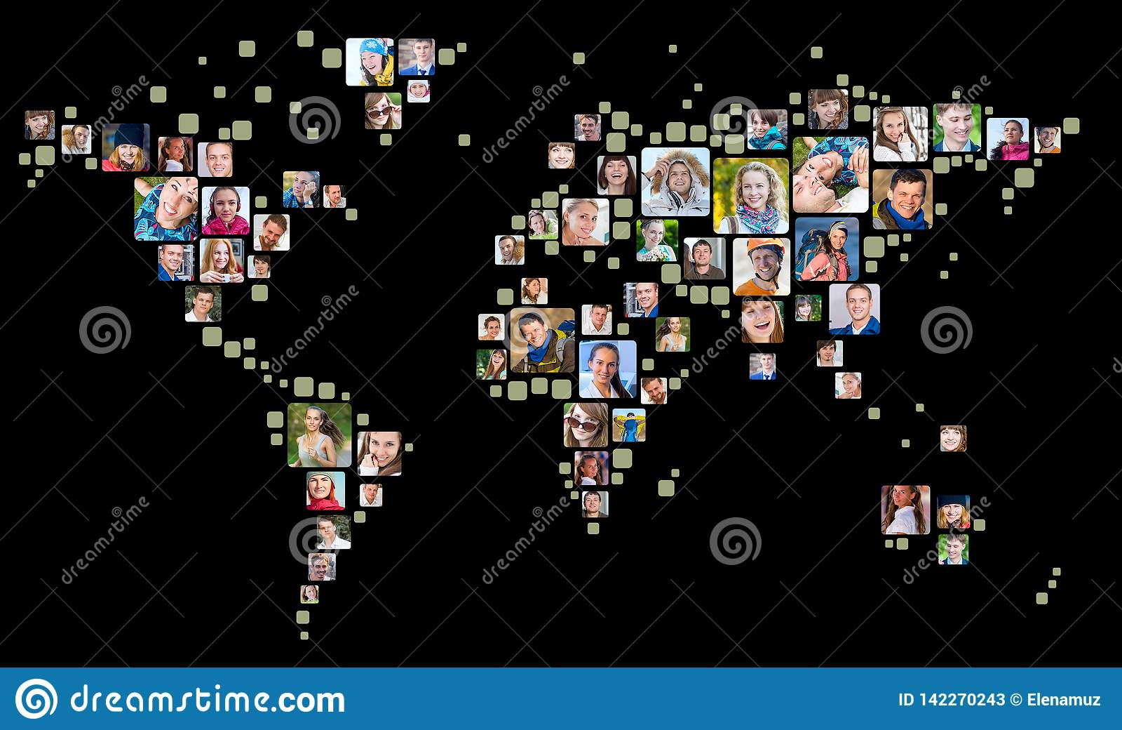 Collection de portraits de personnes placés en tant que forme de carte du monde Concept d affaires globales