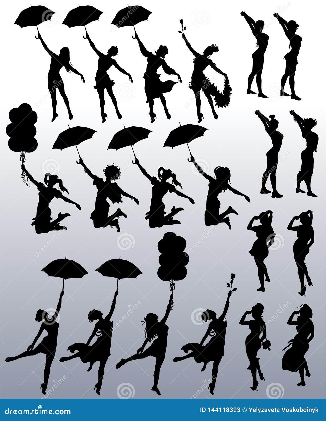 Collection de silhouettes de vecteur des femmes attirantes