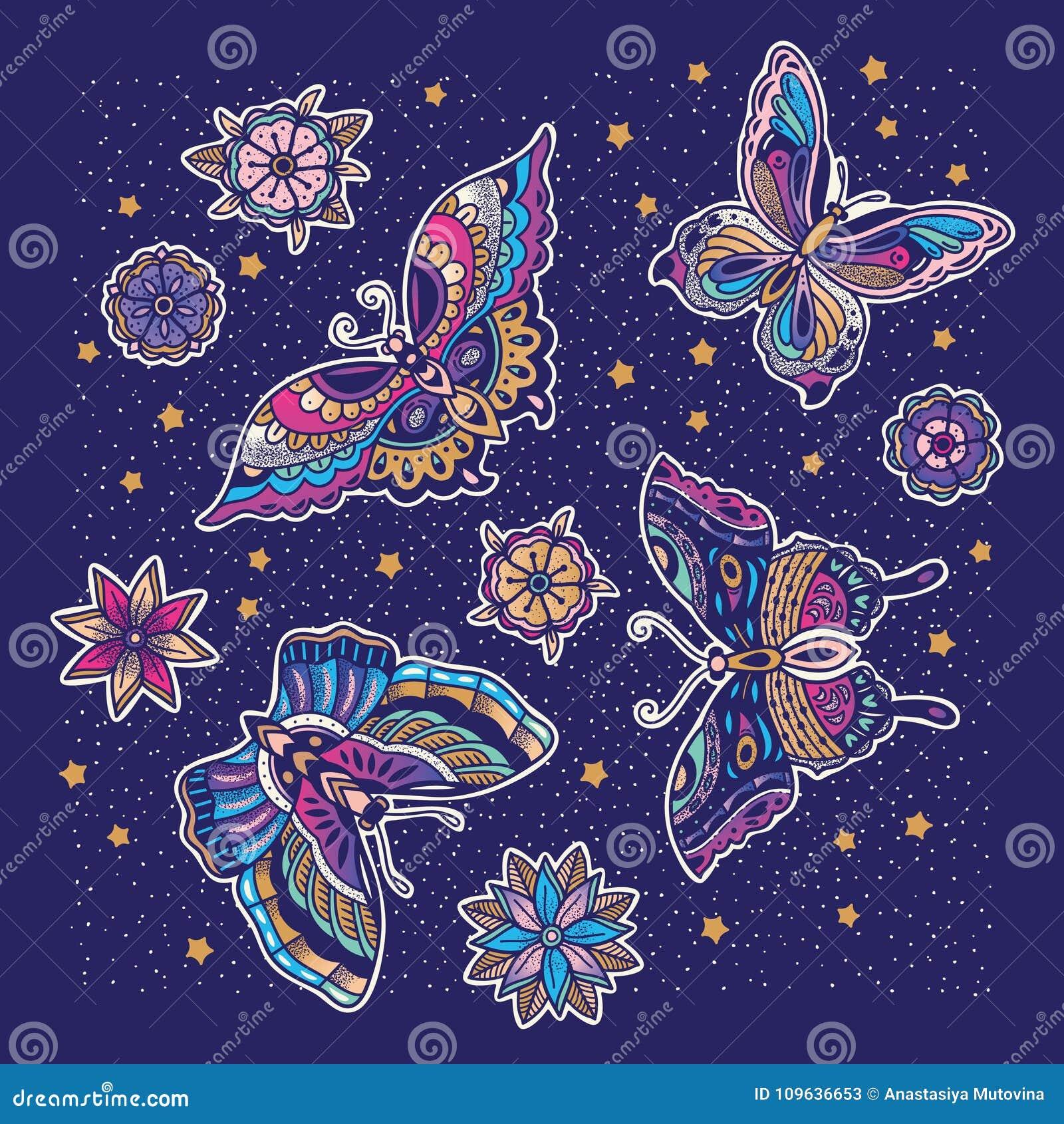 Collection De Tatouage De Papillon Et De Fleur Dans Le Style De