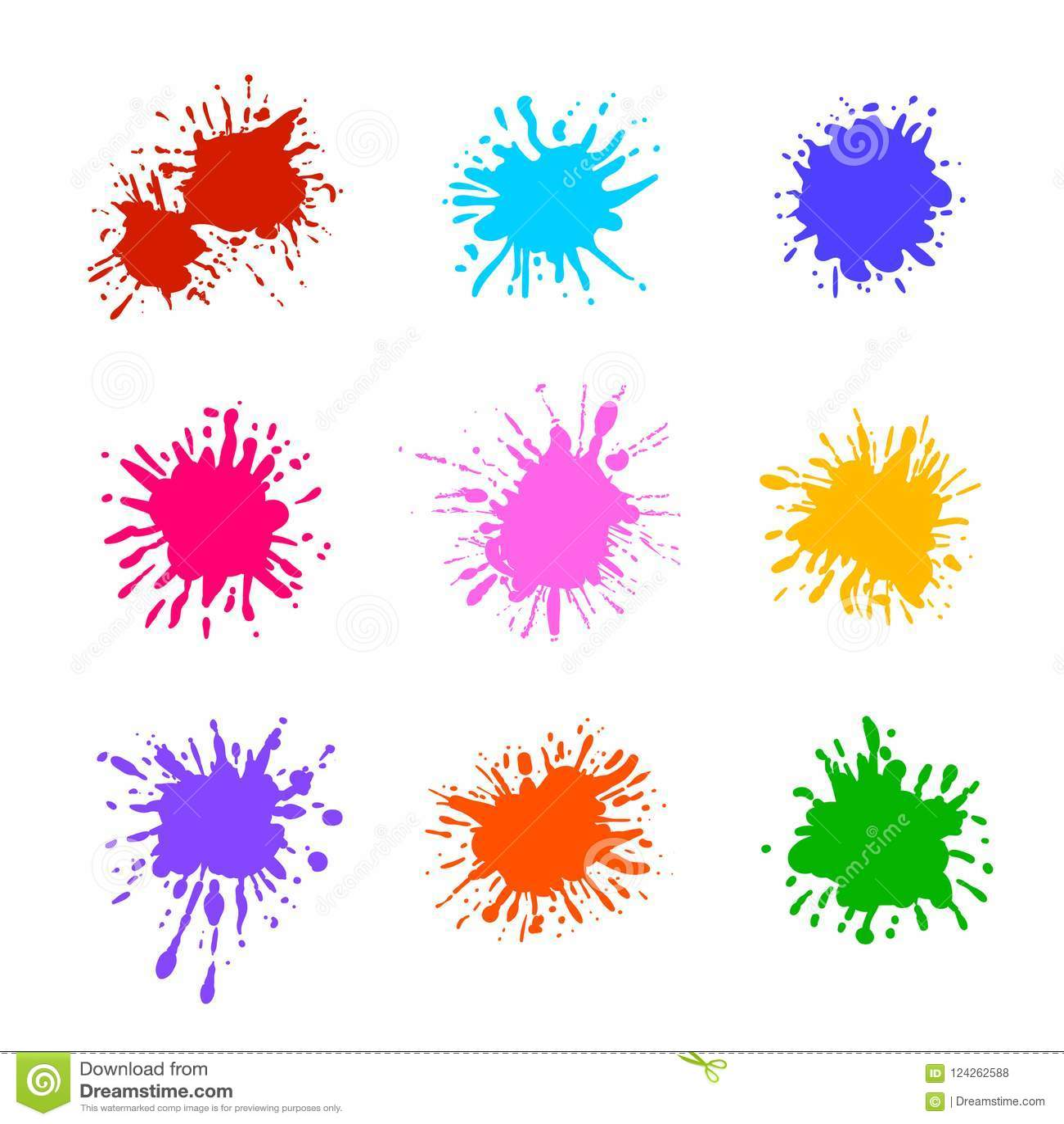 Collection de vecteur d éclaboussures colorées de peinture d isolement, calibres vides de brosse