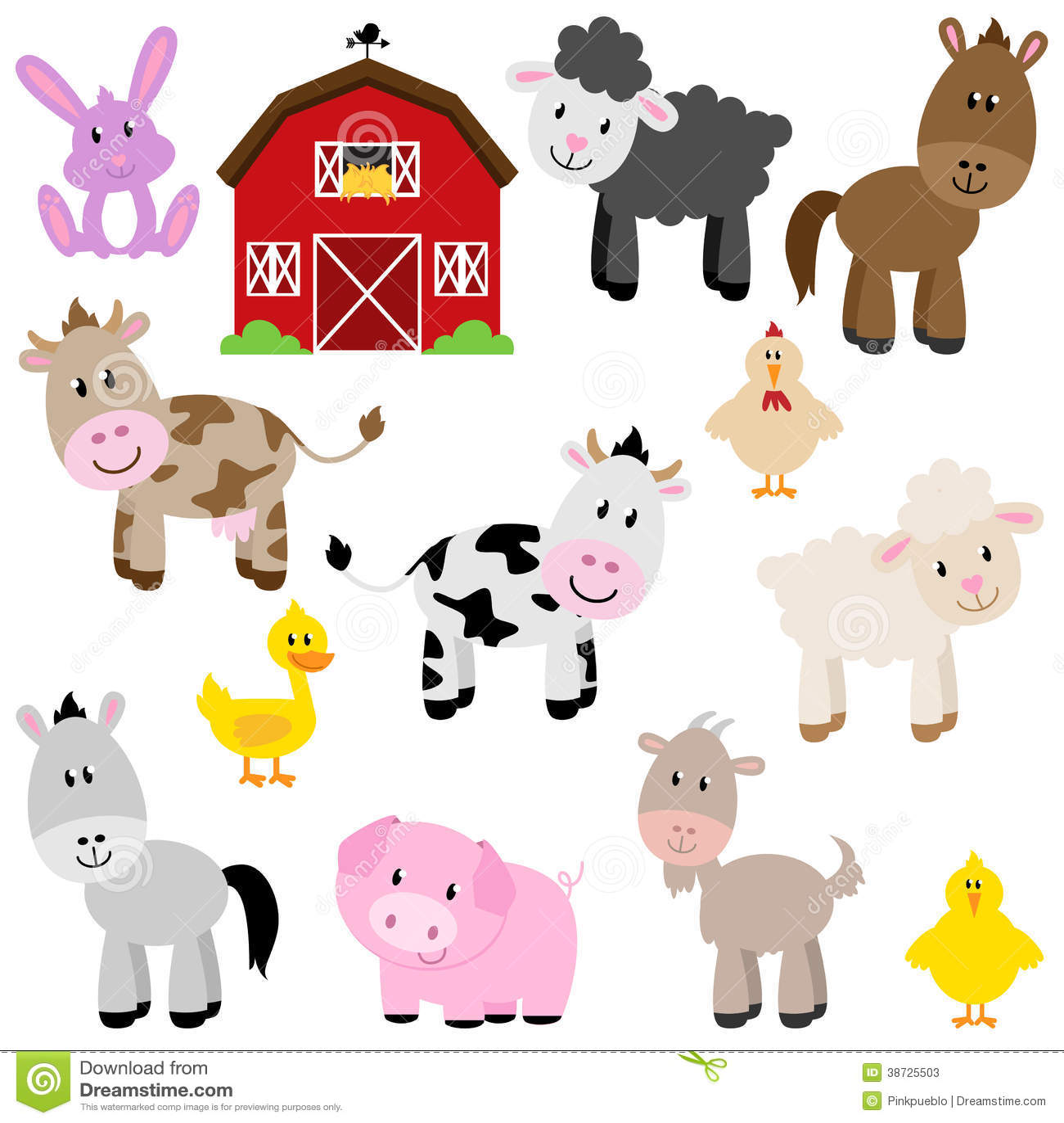 Collection de vecteur d animaux de ferme mignons de bande dessinée