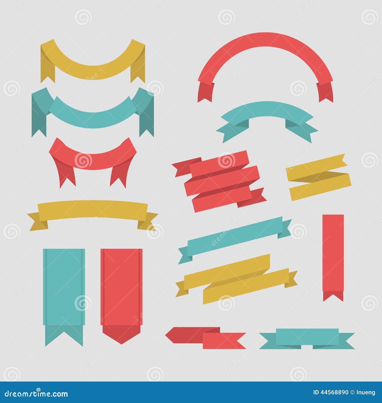 Collection de vecteur de bannières de ruban de couleur