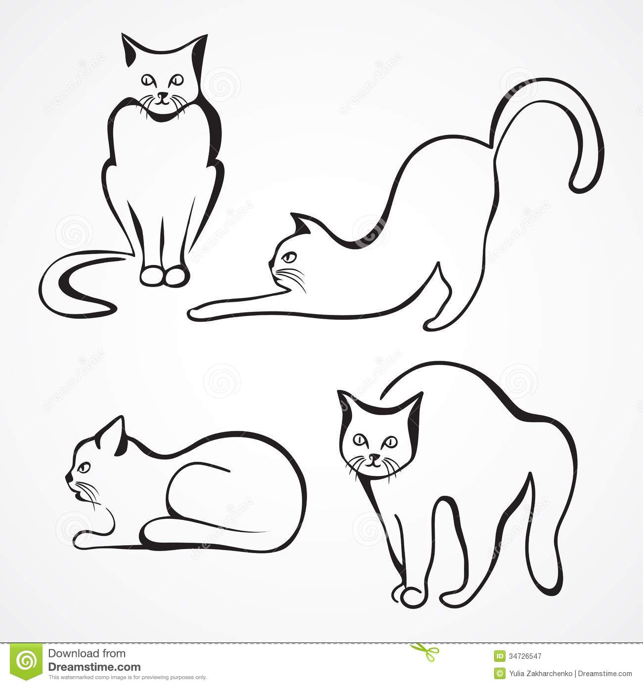 It is a graphic of Sassy Line Drawing Saut De Chat