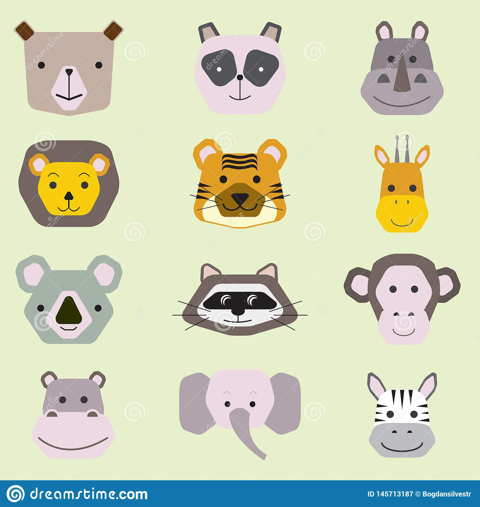 Collection de vecteur de visages animaux mignons, ensemble d ic?ne pour la conception de b?b