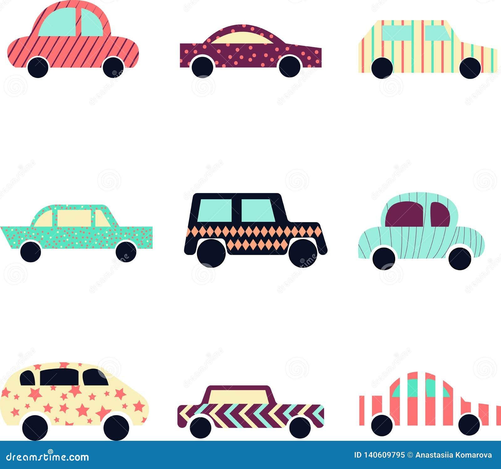 Collection de voitures modernes mignonnes Icône d automobile