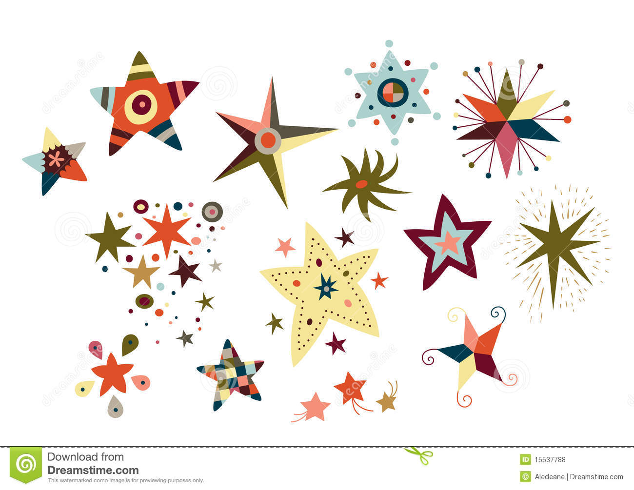 Collection Of Decorative Stars Stock Vector - Illustration of