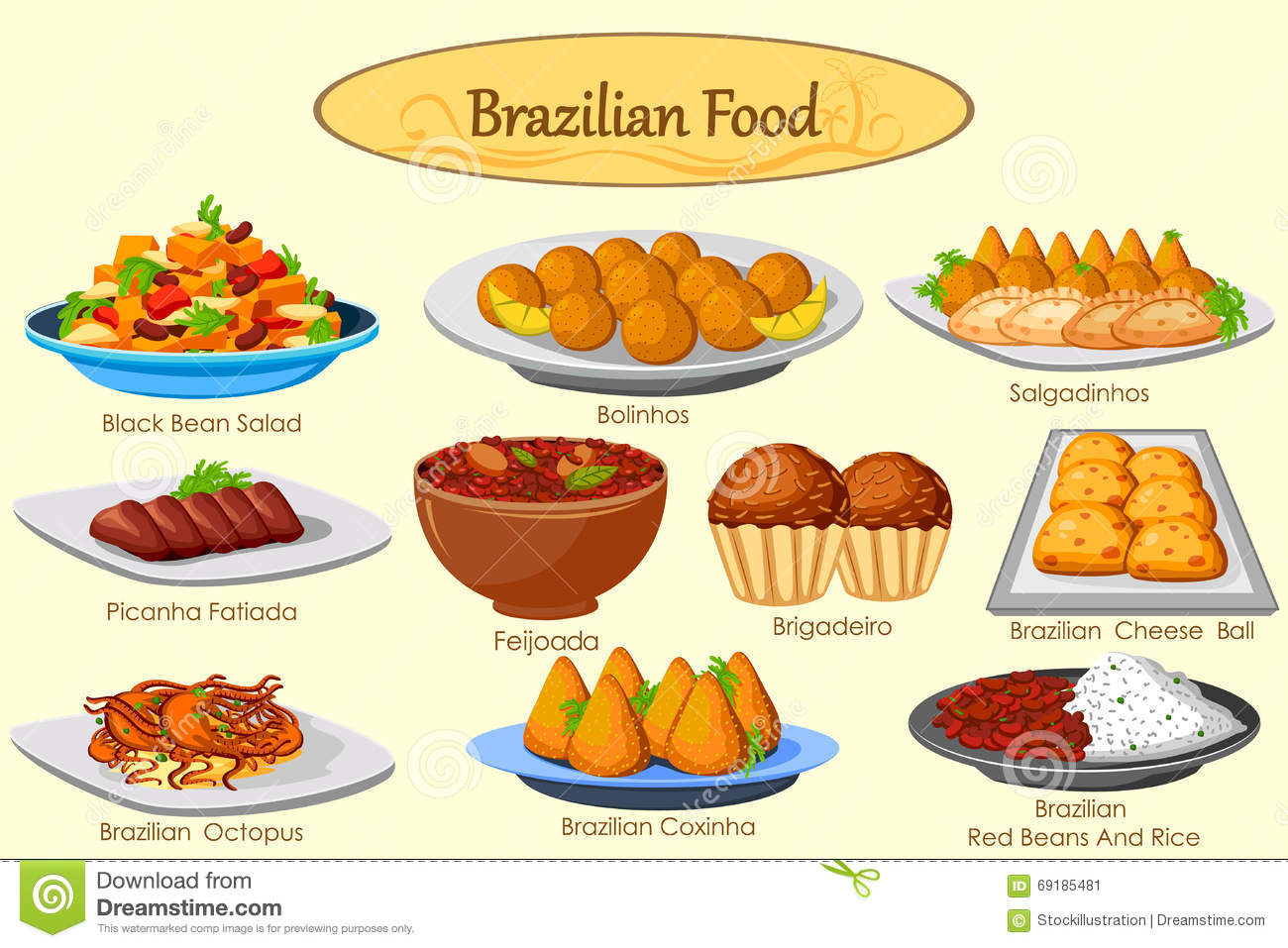 collection of delicious brazilian food stock vector image 69185481. Black Bedroom Furniture Sets. Home Design Ideas