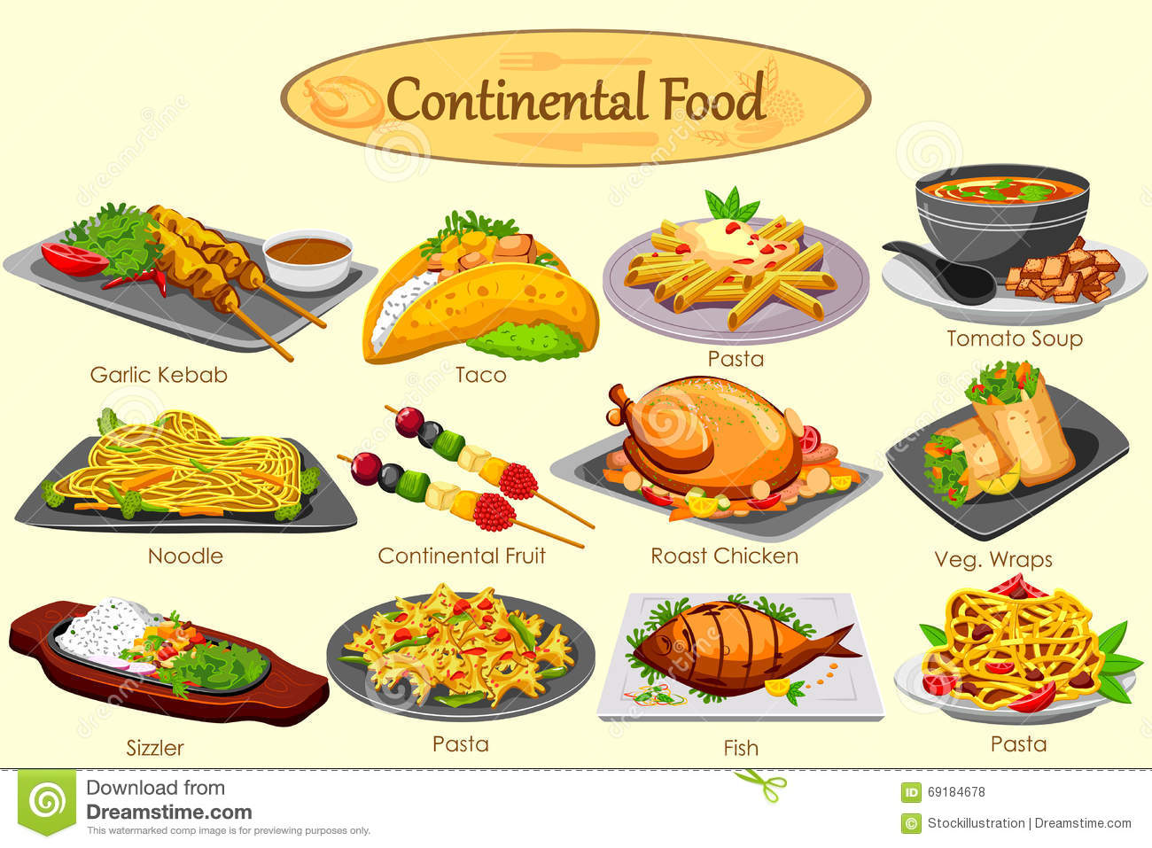 Collection of delicious continental food stock vector for Cuisine francaise