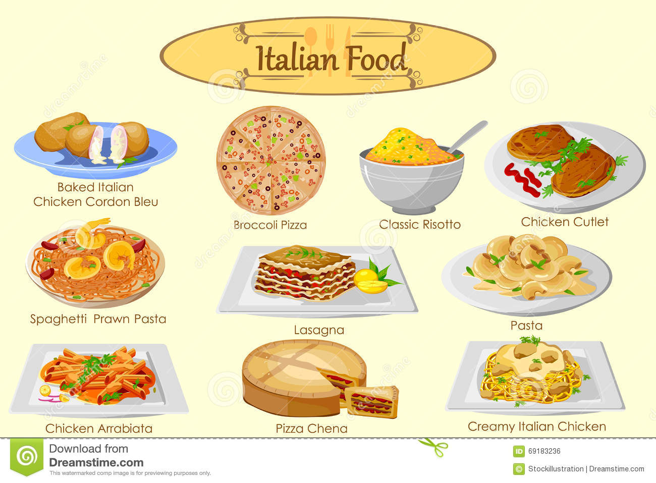 Italian Restaurant Near Me: Collection Of Delicious Italian Food Stock Vector