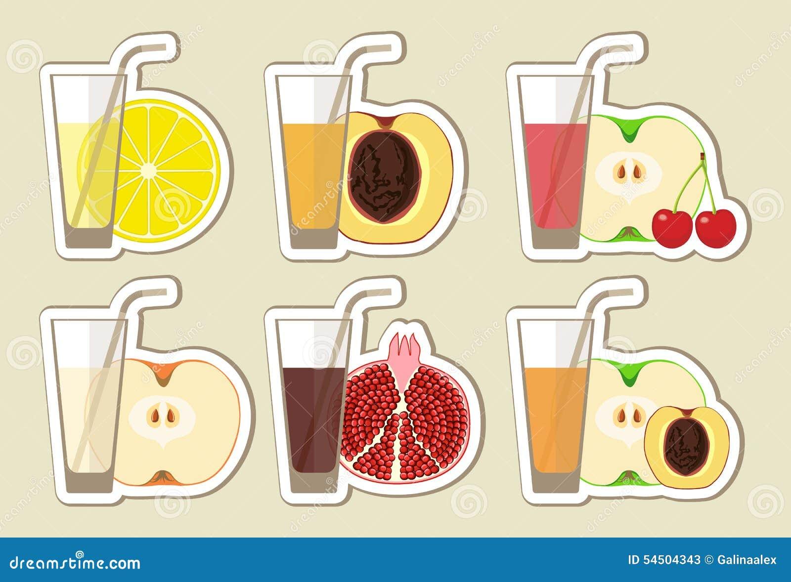 Collection des jus et du cocktail de fruit