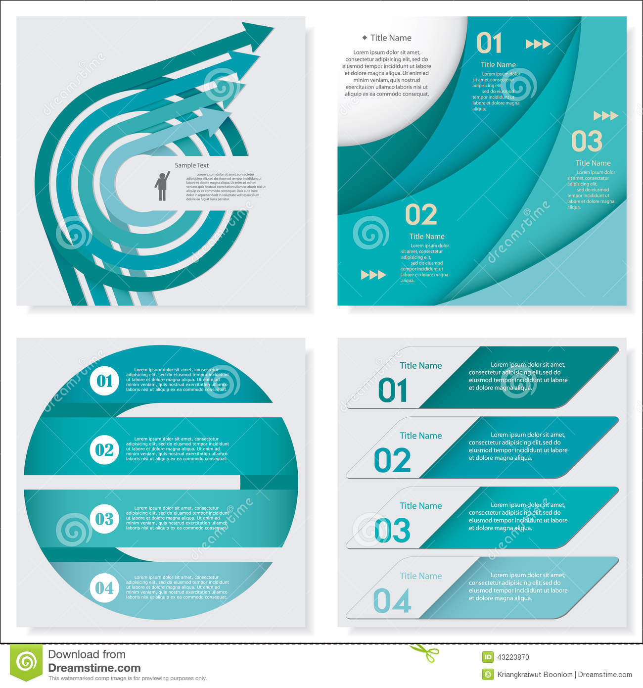 Collection of Design clean number banners template. Vector.