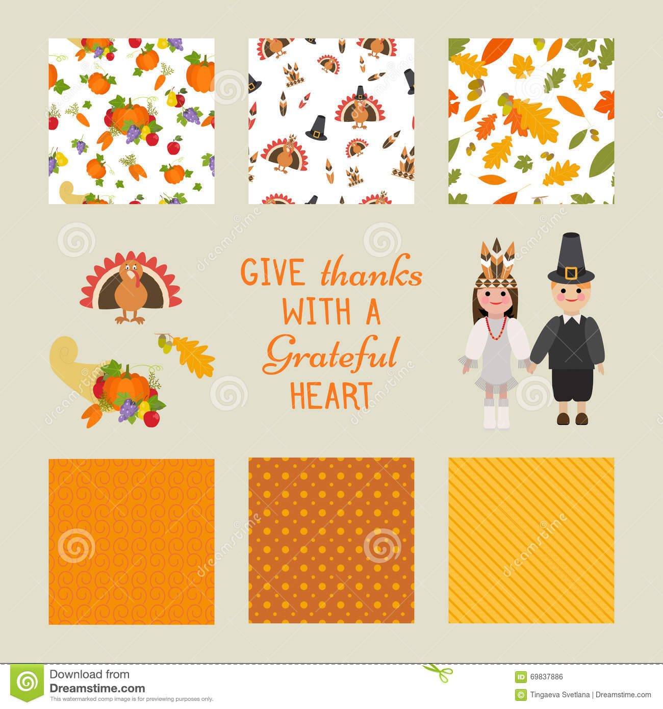 Collection design elements for thanksgiving day stock illustration collection design elements for thanksgiving day with text greetings for your family m4hsunfo
