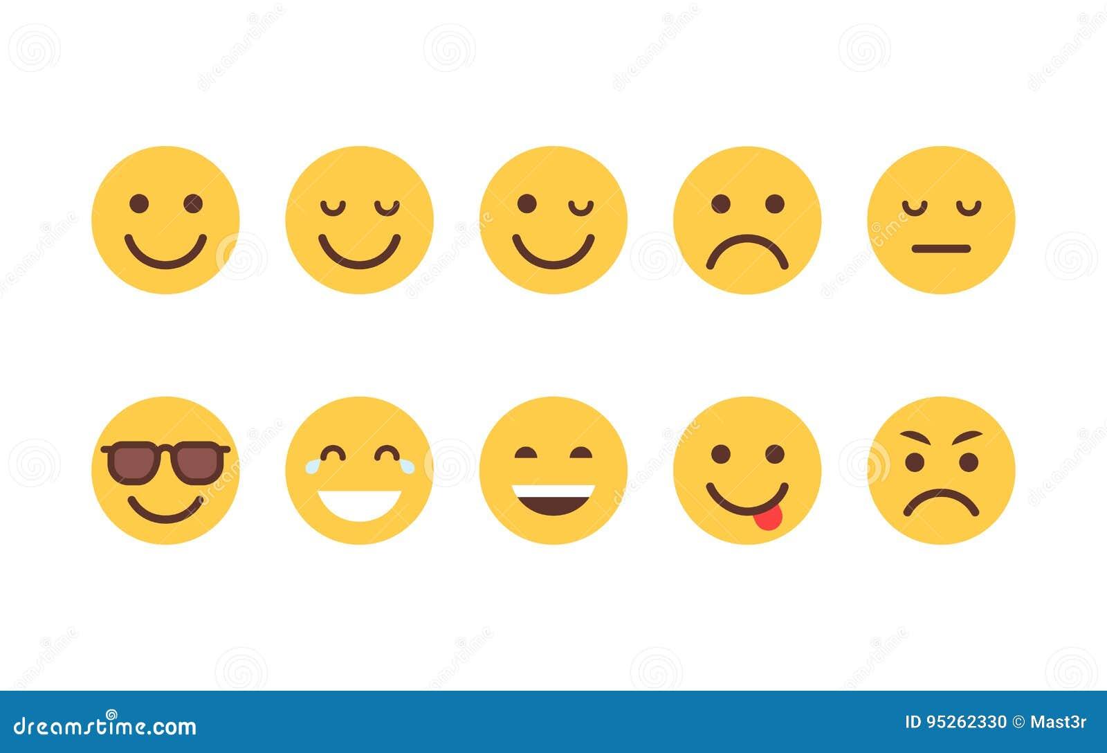 Collection différente d icône d émotion de bande dessinée de visage de personnes réglées jaunes d Emoji