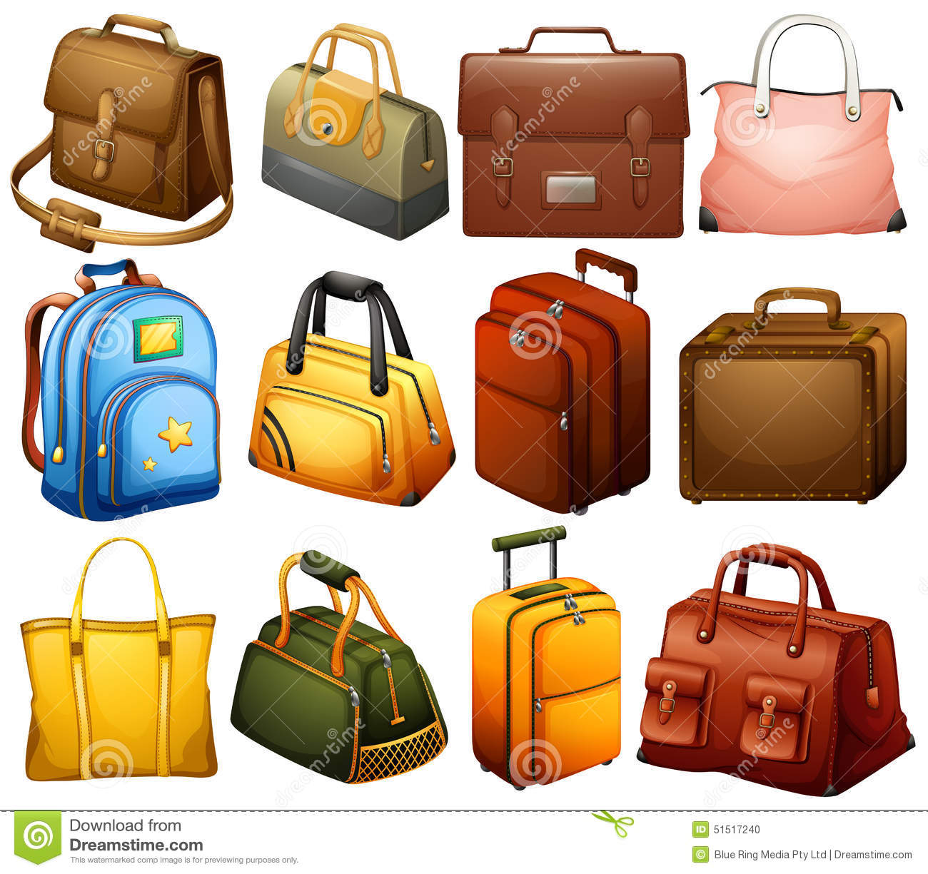 Collection Of Different Bags Stock Vector - Image: 51517240