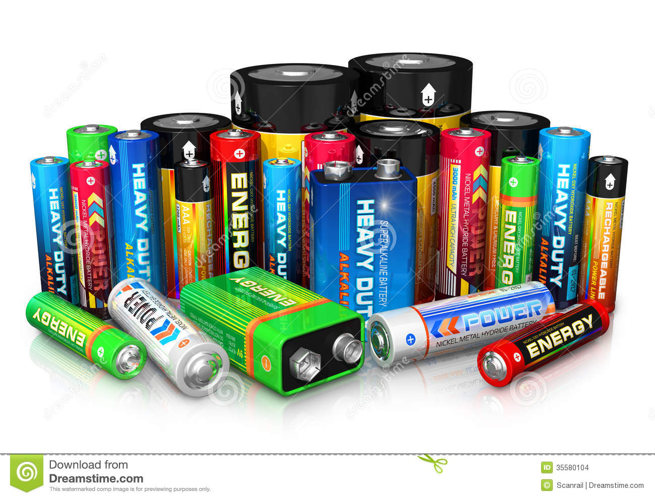 Collection Of Different Batteries Stock Images Image
