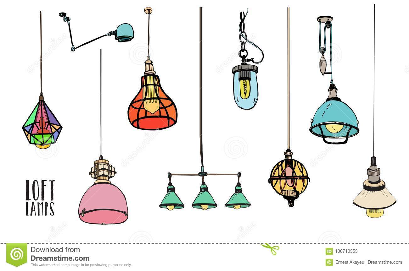 Collection of different colored loft lamps or light fixtures on white background hand drawn old