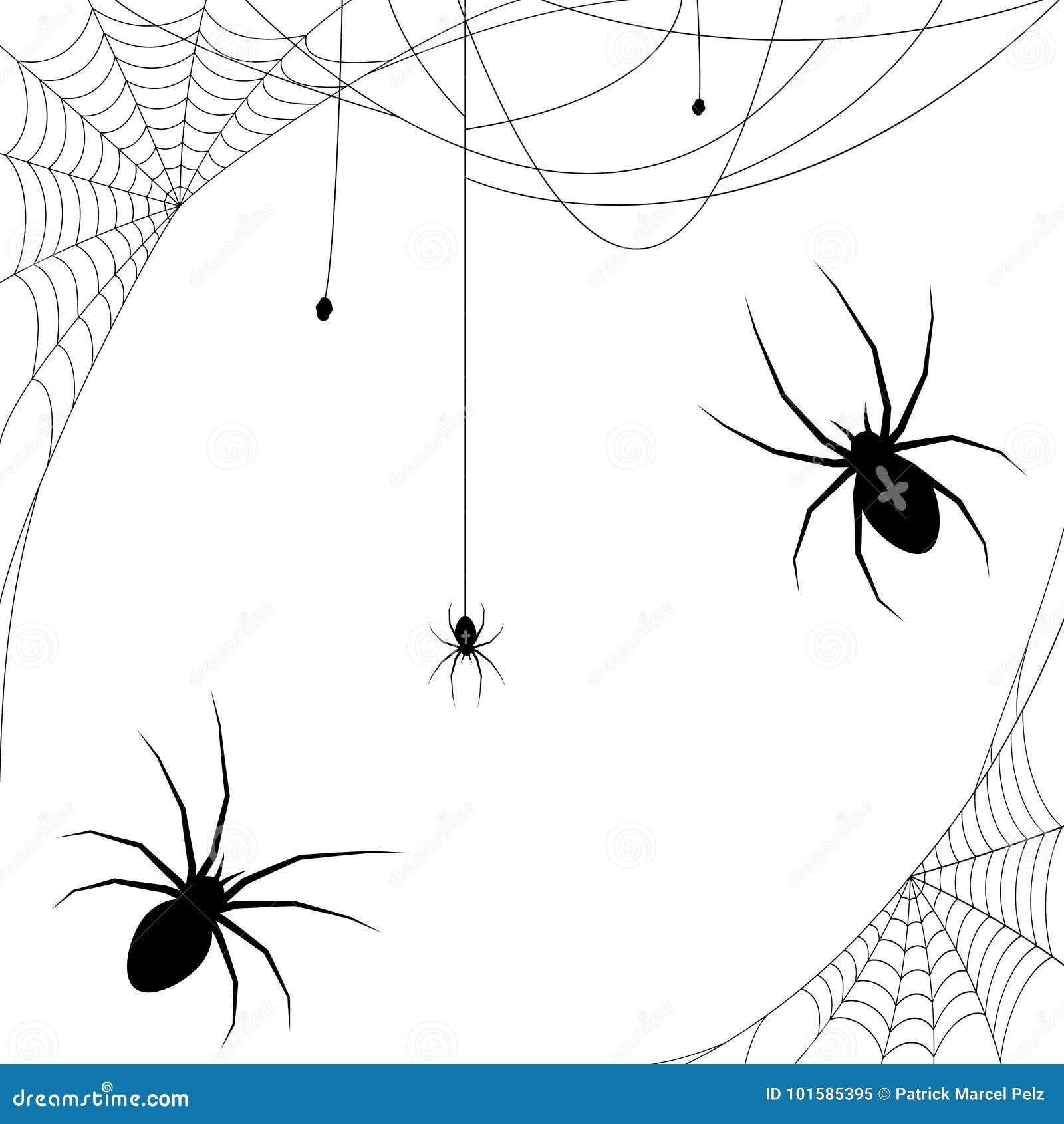 Halloween Spider And Spider Webs Stock Vector - Illustration