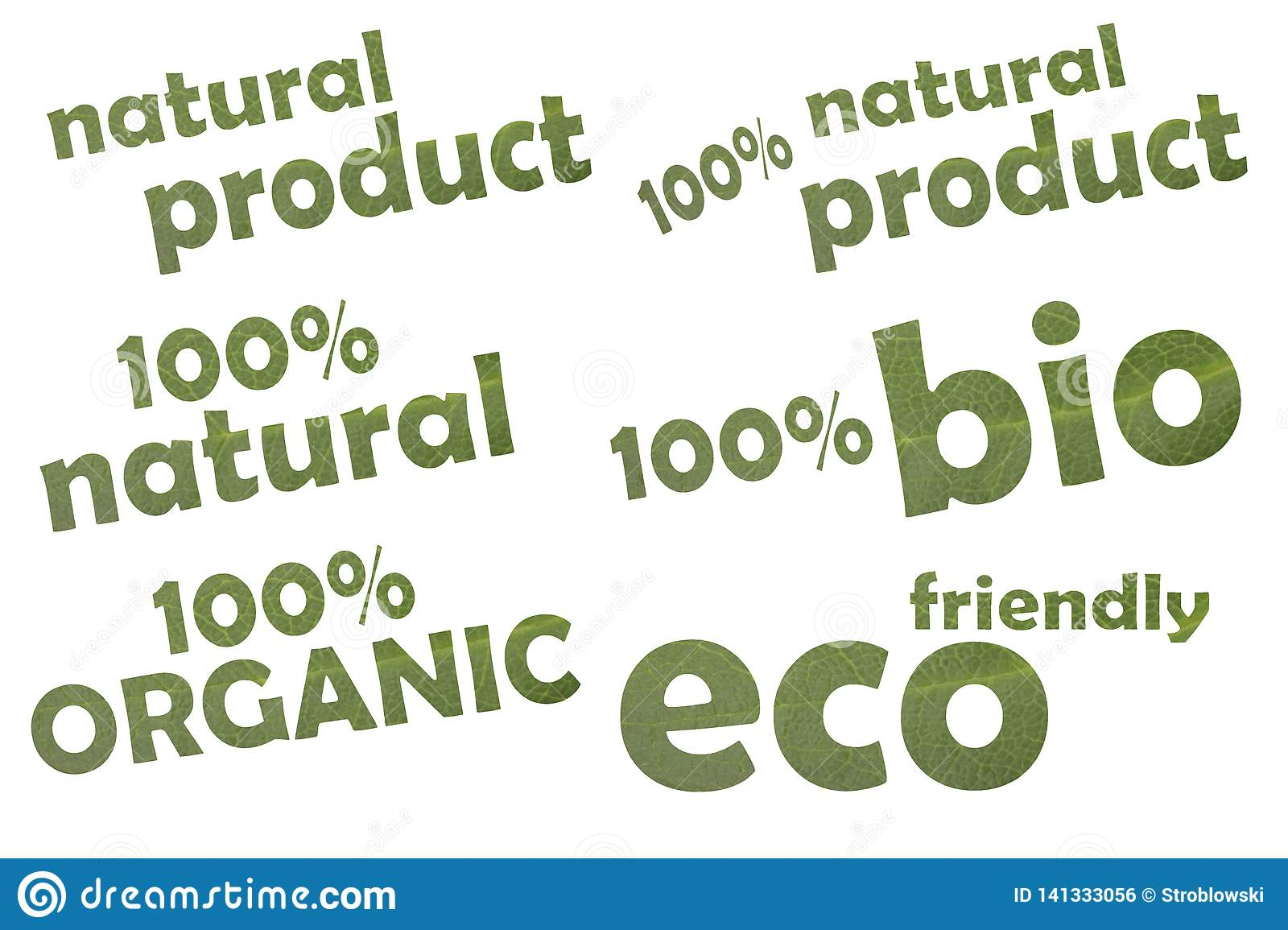 Collection of different keywordslike eco friendly, 100   bio or 100   organic - cut out of a green leaf