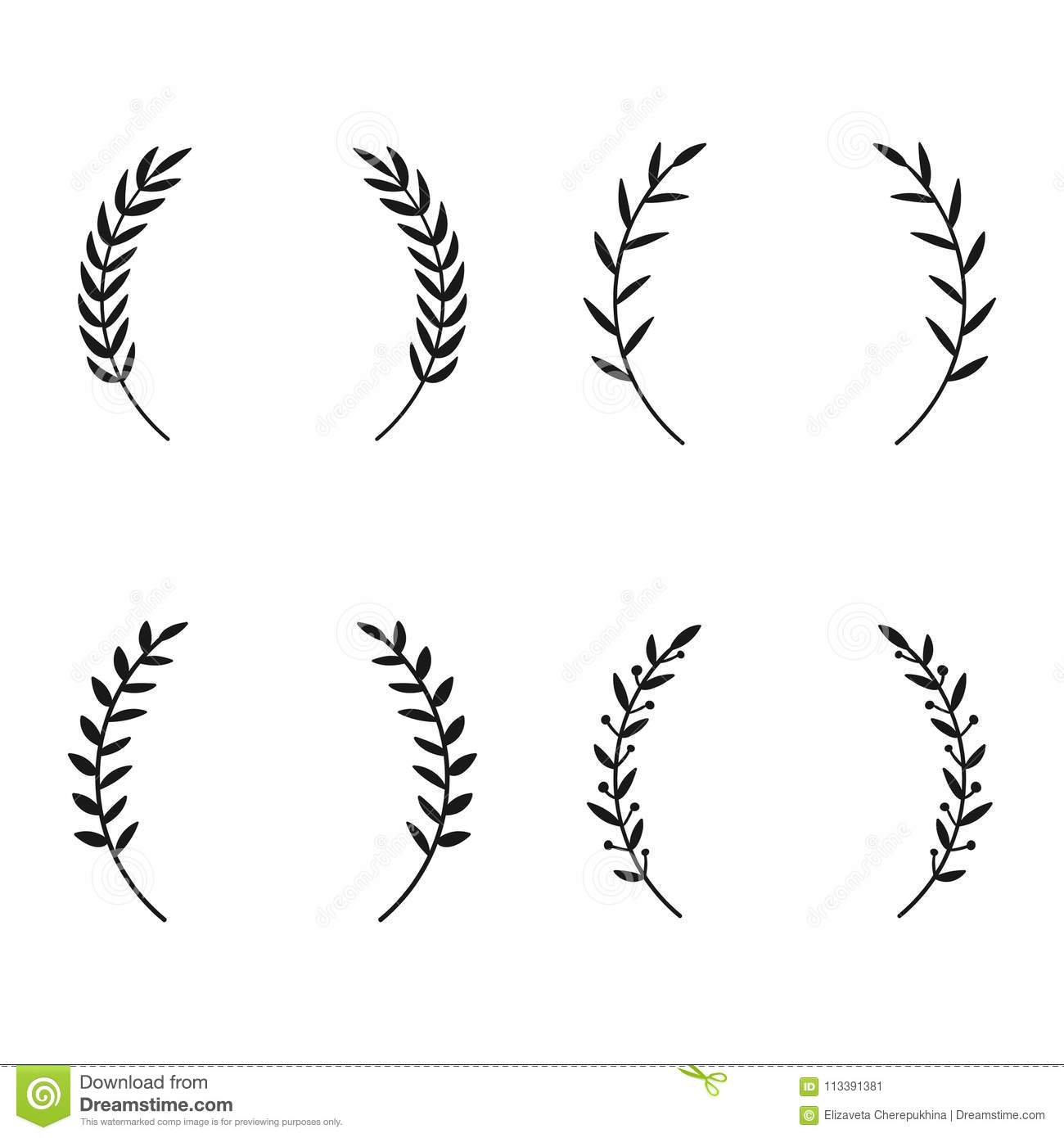 Collection of different laurel wreaths hand drawn vector round download collection of different laurel wreaths hand drawn vector round frames for invitations greeting m4hsunfo