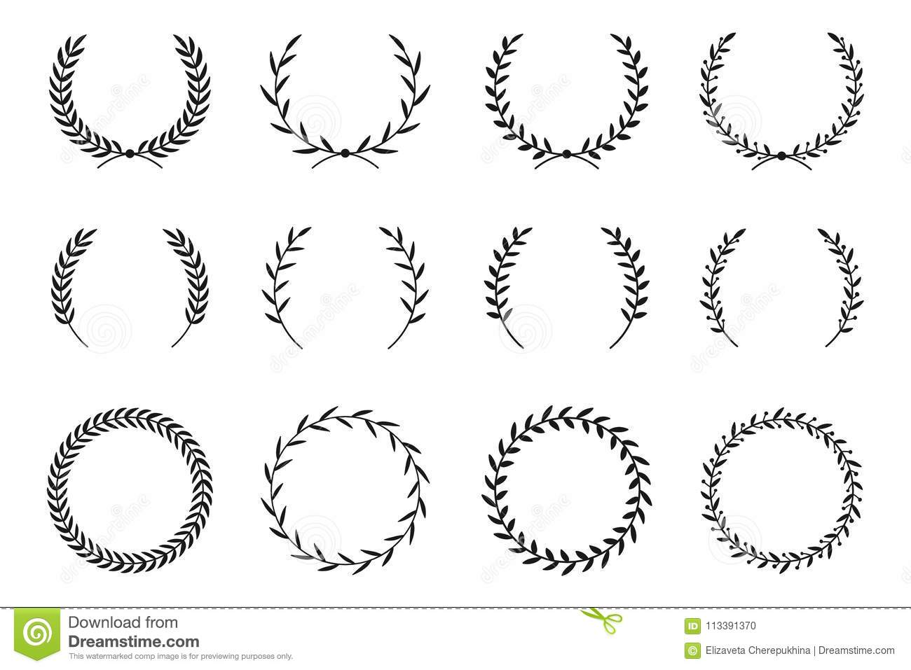 Collection Of Different Laurel Wreaths Hand Drawn Vector Round