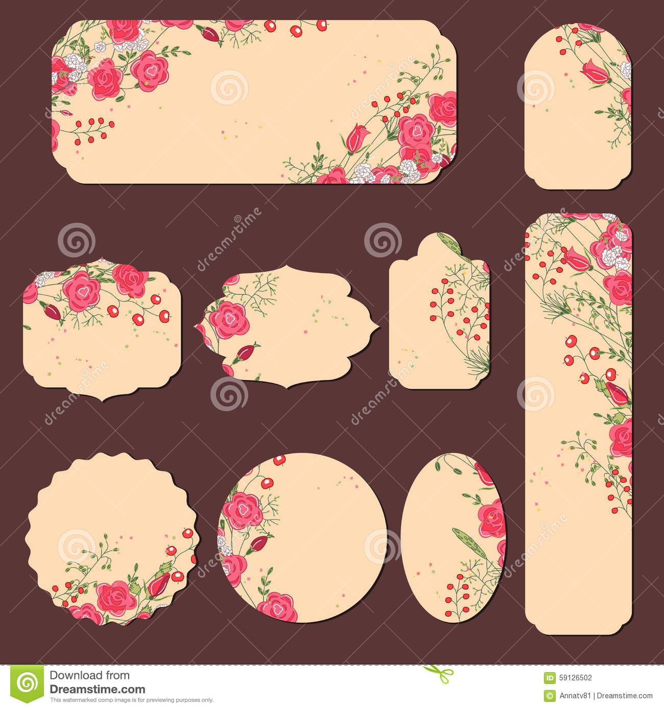 Collection With Different Paper Labels For Wedding Stock Vector