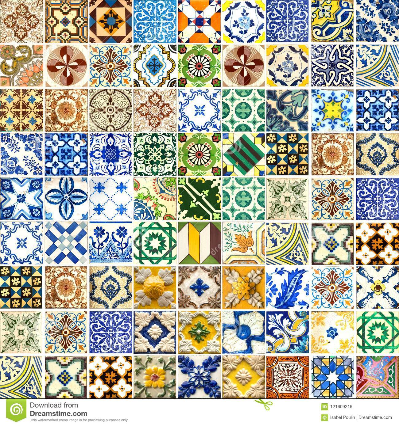 Collection Of Different Patterns Tiles Stock Illustration